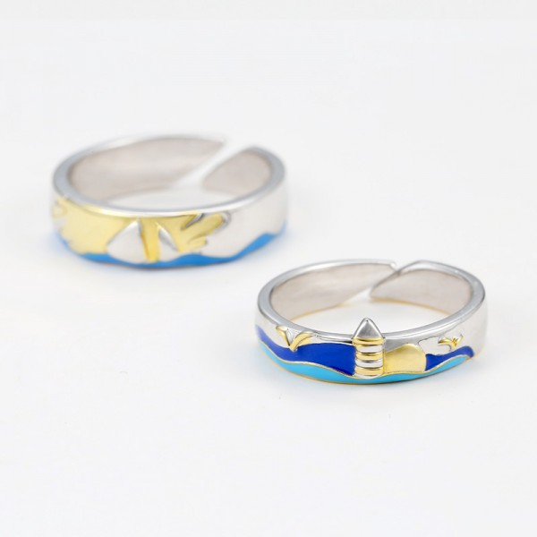 Engravable Sailing To The Lighthouse Matching Promise Rings In Sterling Silver