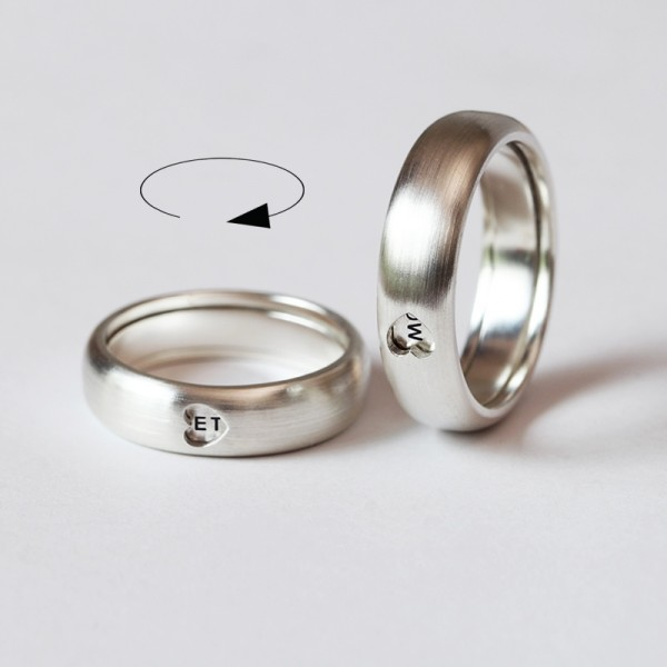 Rotatable Love From The Heart Matching Promise Rings In Silver