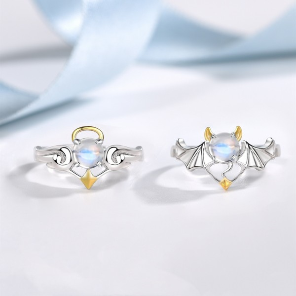 Adjustable Angel And Demon Matching Promise Rings For Couples In Sterling Silver
