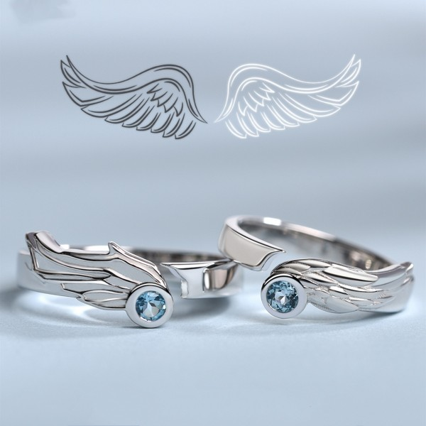 Adjustable Angel Wings Matching Promise Rings For Couples In Sterling Silver
