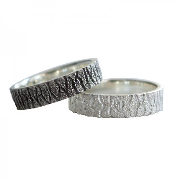Engravable Wrinkle Matching Promise Rings For Couples In Sterling Silver