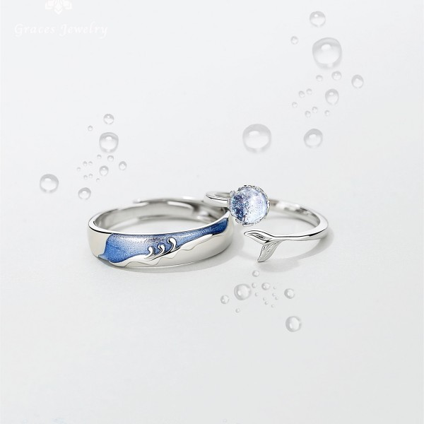 Adjustable Mermaid Princess Matching Promise Rings For Couples In Sterling Silver