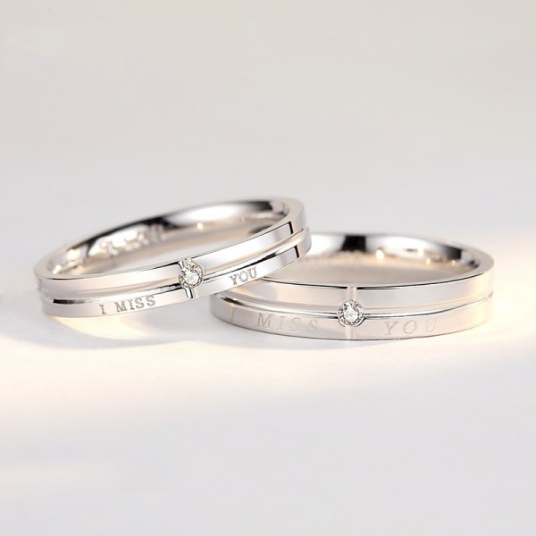 Engravable I Miss You Matching Promise Rings In Sterling Silver