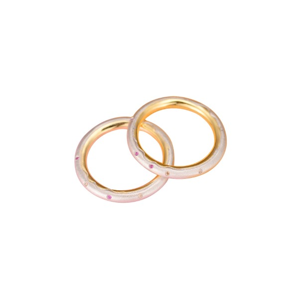 Engravable Silver Plated 18K Gold Donuts Love Couples Wedding Bands