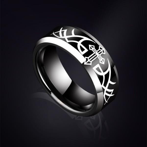 Engravable Cross Tungsten Wedding Ring For Men