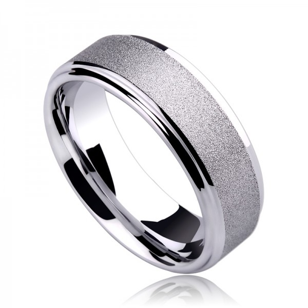 Unique 7mm Frosted Tungsten Carbide Ring For Men