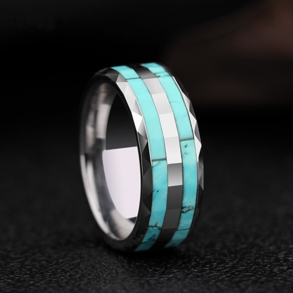 Engravable Turquoise Ring For Men In Tungsten
