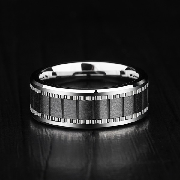 Engravable Black Turquoise Carbide Ring For Men
