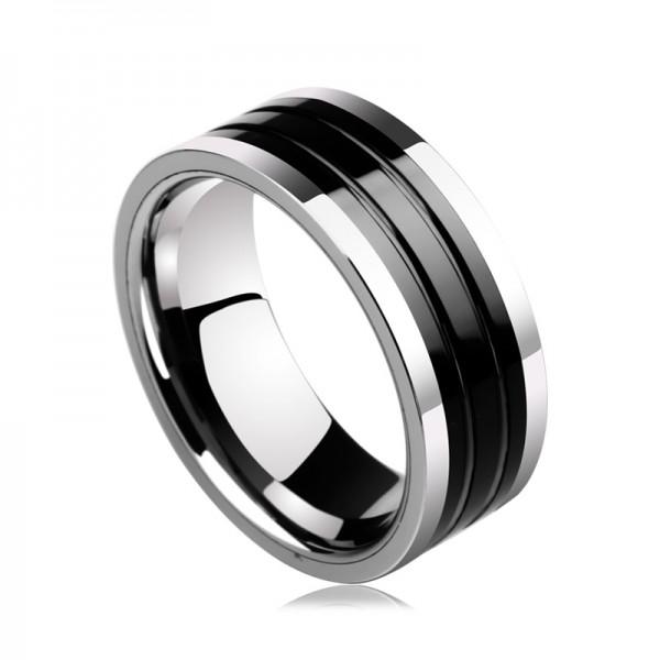 Engravable Simple Black Turquoise Carbide Ring For Men