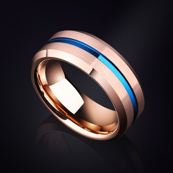 Engravable Rose Turquoise Carbide Ring For Men