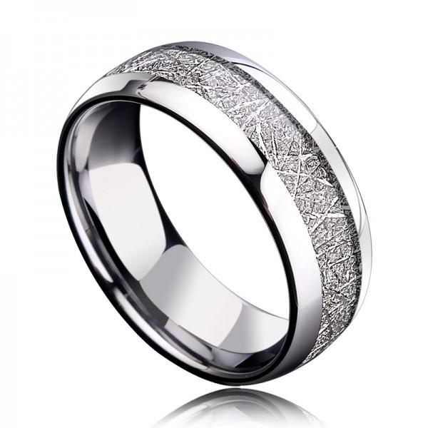 Engravable Wrinkles Turquoise Carbide Ring For Men