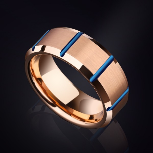 Personalized Rose Tungsten Carbide Ring For Men