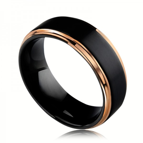 Engravable Black Tungsten Ring With Rose Side