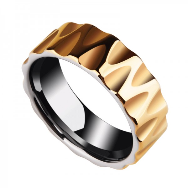 Personalized Yellow Tungsten Carbide Ring For Men