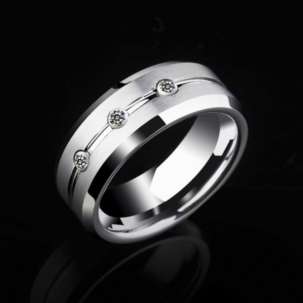 Engravable Cubic Zirconia Promise Ring For Men In Tungsten