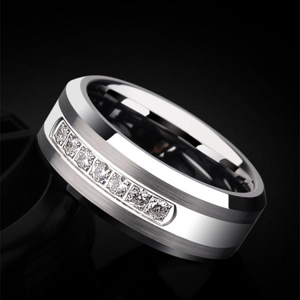 Engravable Cubic Zirconia Wedding Ring For Men In Tungsten