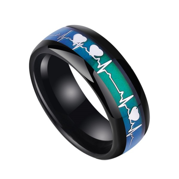 Unique Color Changeable Heartbeat Ring In Tungsten