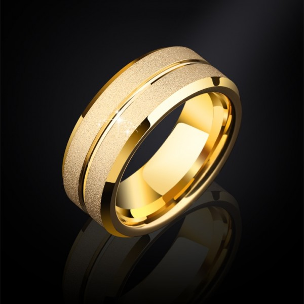 Engravable Frosted Promise Ring For Men In Tungsten