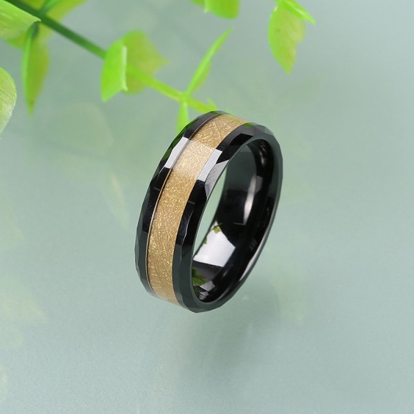 Personalized Yellow Tungsten Ring For Men