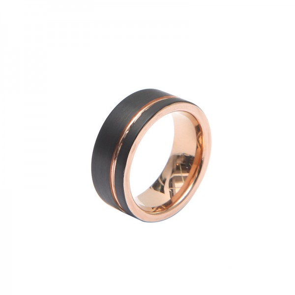 Engravable Rose And Black Two-Tone Tungsten Ring For Men