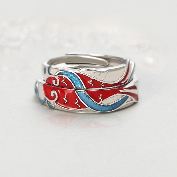 Koi Fish Matching Couples Rings Set In Sterling Silver