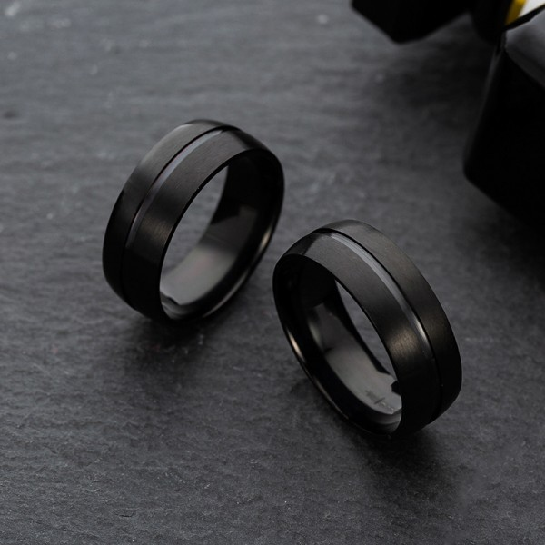 Engravable Simple Black Rings For Couples In Titanium