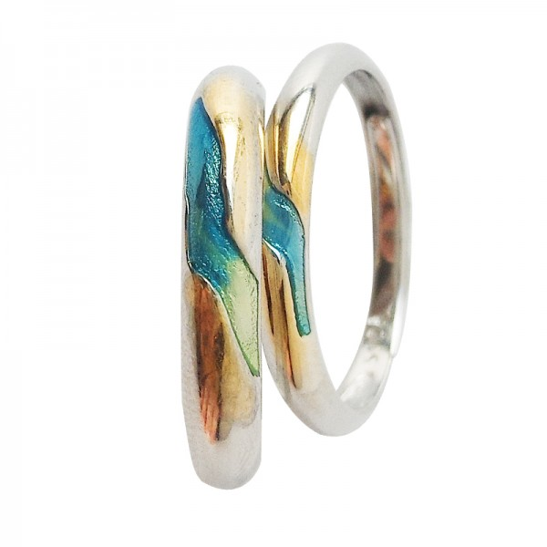 Adjustable Colorful Rings For Couples In Sterling Silver