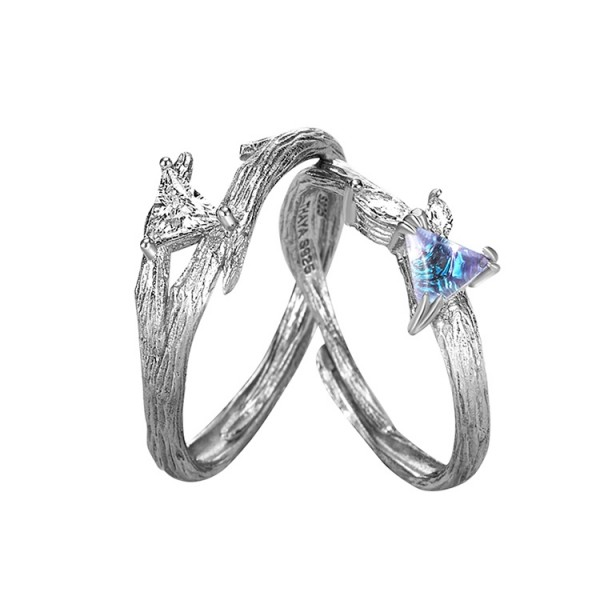 Adjustable Glimmer Forest Promise Rings Set In Sterling Silver