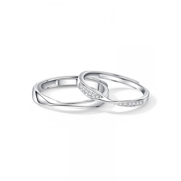 Engravable Matching Infinity Promise Rings For Couples In Sterling Silver