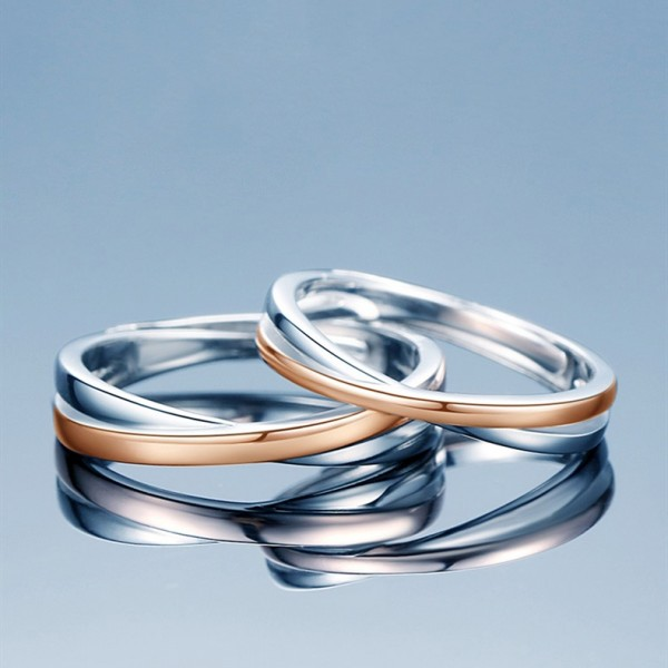 Engravable Infinity Matching Promise Rings Set In Sterling Silver