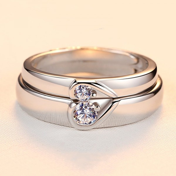 Personalized Matching Heart Promise Rings Set In Sterling Silver