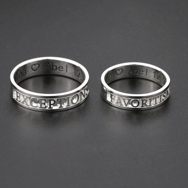 Personalized Hollow Out Name Rings For Couples In Sterling Silver