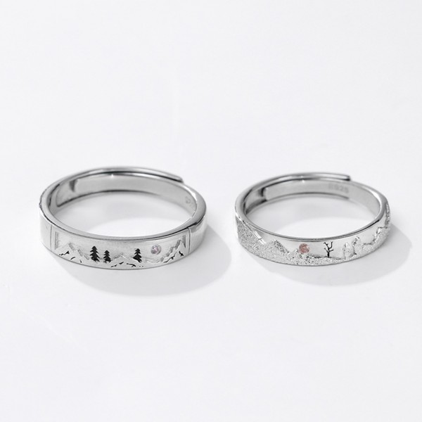 Personalized Snow Forest Promise Rings For Couples In Sterling Silver