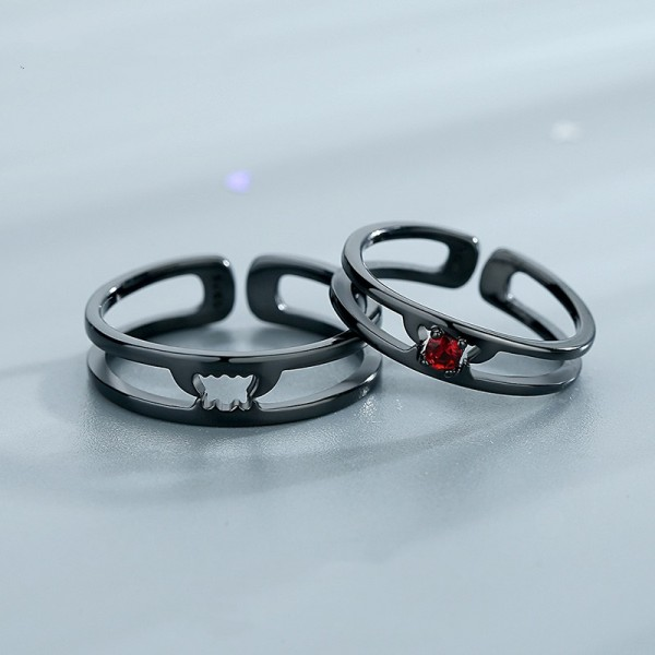 Personalized Matching Vampire Couple Rings In Sterling Silver