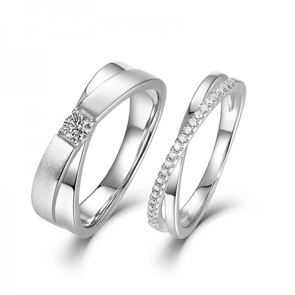 Unique Infinity Love Matching Promise Rings For Couples In Sterling Silver