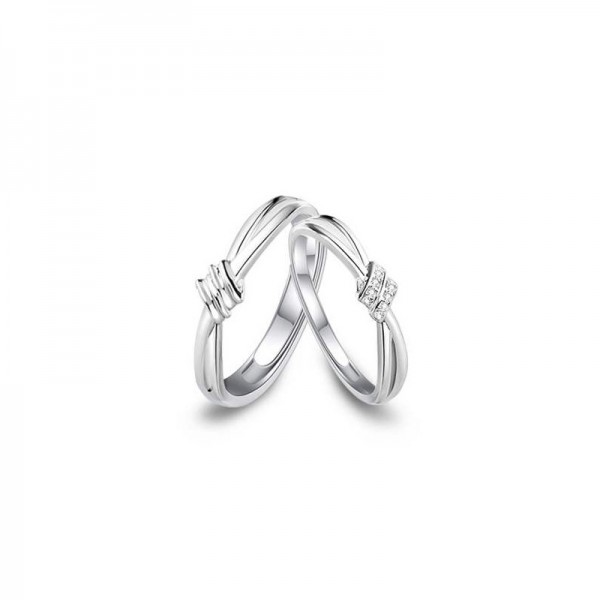 Engravable Infinity Knot Matching Promise Rings For Couples In Sterling Silver