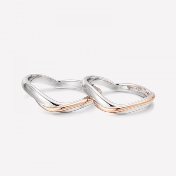Engravable Matching Heart Promise Rings For Couples In 9K Gold