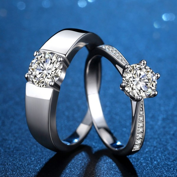 Engravable Simple Matching Couple Wedding Rings In Sterling Silver Plated Platinum