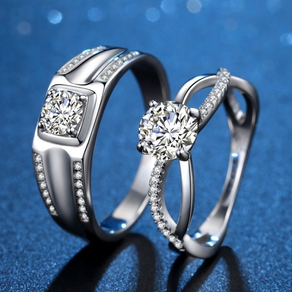 Engravable Infinity Love Matching Couple Wedding Rings In Sterling Silver Plated Platinum