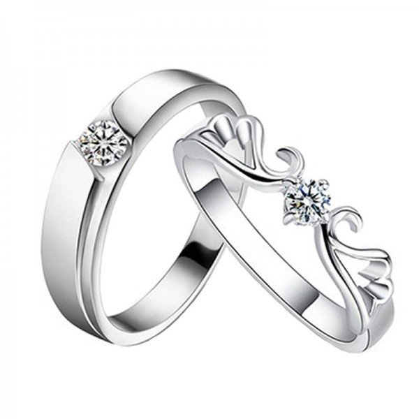 Engravable My Angel Matching Couple Wedding Rings In Sterling Silver Plated Platinum
