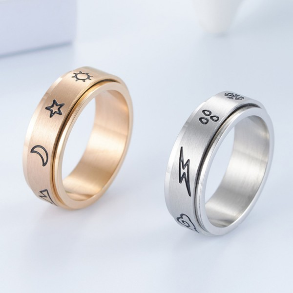 Rotatable The Weather Matching Couple Distance Rings In Titanium