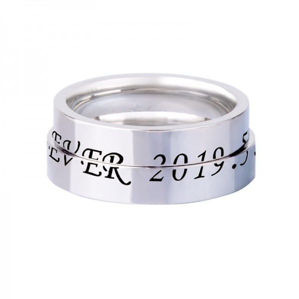 Engravable Love Code Matching Promise Rings For Couples In Sterling Silver