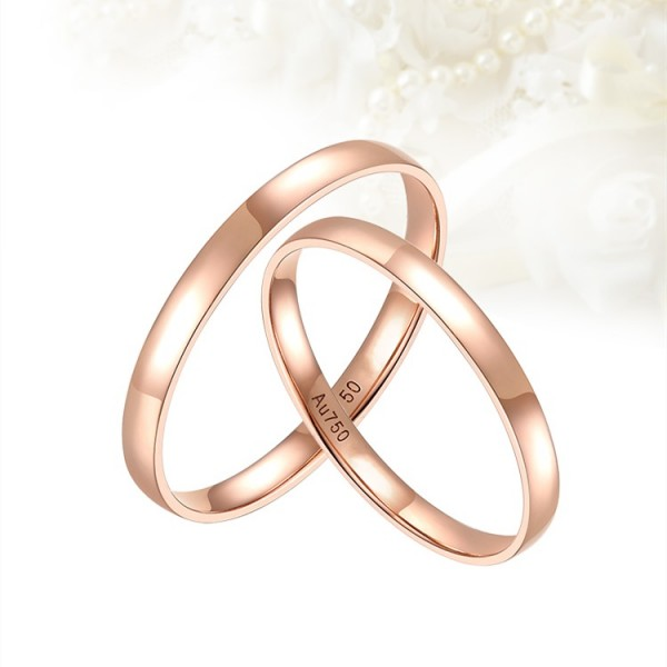 Engravable Simple Matching Couple Wedding Bands In 18K Gold