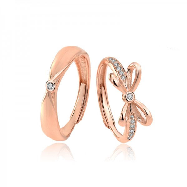 Engravable Matching Bowknot Rings For Couples In Sterling Silver