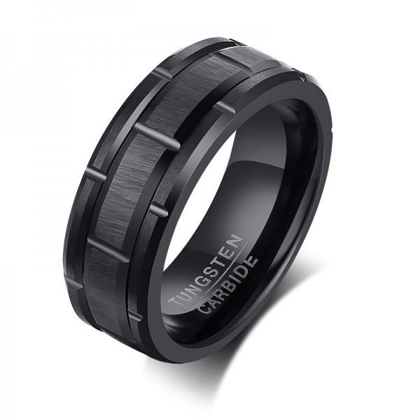 Unique 8mm Black Promise Ring For Men In Tungsten