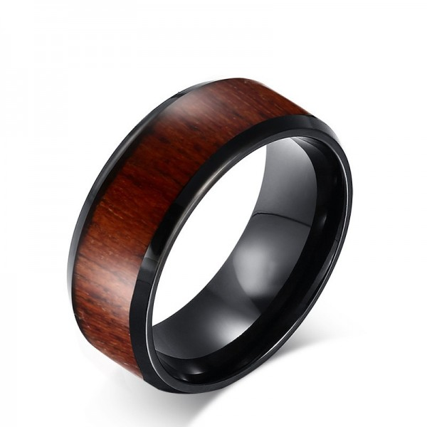 Unique 8mm Wooden Promise Ring For Men In Tungsten
