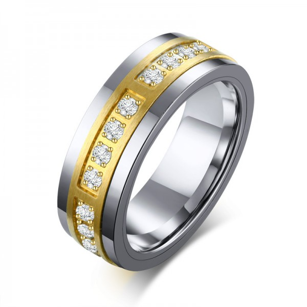 Engravable 7mm Round CZ Promise Ring For Men In Tungsten