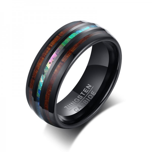 Unique 8mm Wooden Promise Ring For Men In Tungsten And Shell