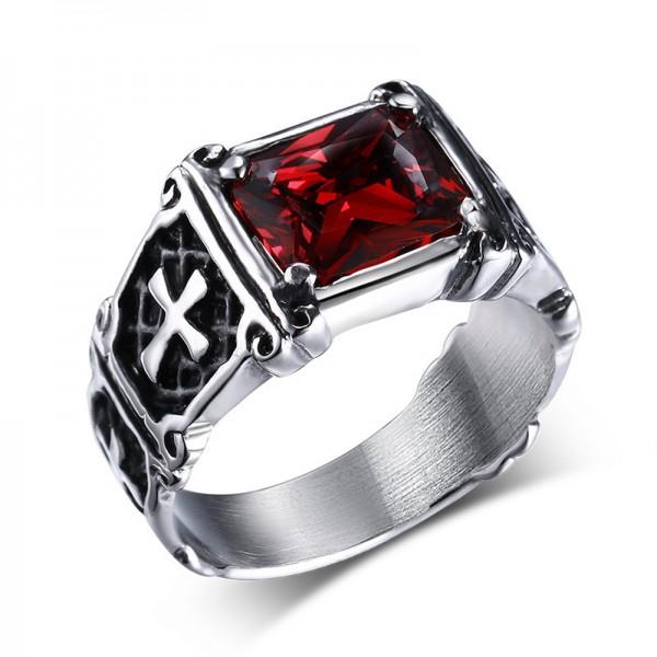 Unique Cross Ruby Promise Ring For Men In Titanium