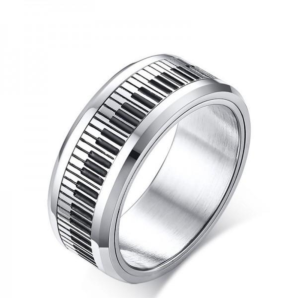 Unique Piano Keys Spinner Promise Ring For Men In Titanium
